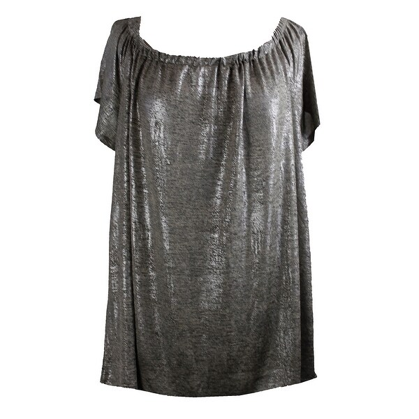 791a9a9df80 Inc International Concepts Plus Size Silver Metallic Off-The-Shoulder Top 2X