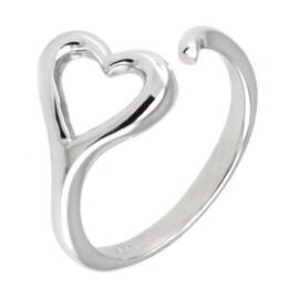 Sterling Silver Infinite Heart Loop Adjustable Size Ring