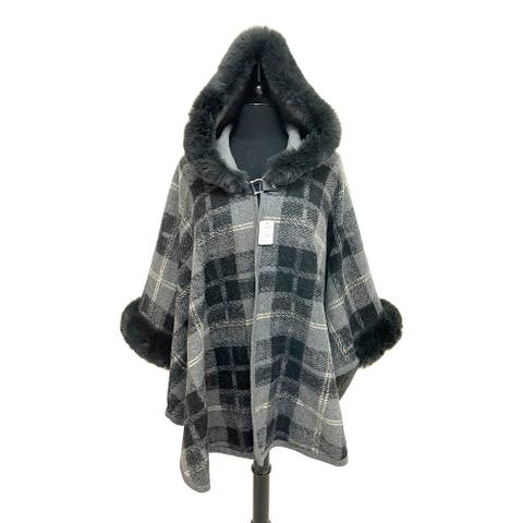 Oussum Womens Winter Coat Casual Party Plaid Hoodie Cloak Caps Outwear with Faux Fur Trimmed for Ladies