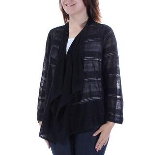 Womens Black 3/4 Sleeve Open Casual Handkerchief Sweater Size S