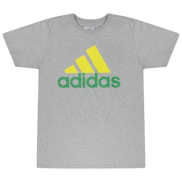 Shop Adidas Yellow Green Performance Logo The Go-To Tee Men s Grey T-shirt  - Free Shipping On Orders Over  45 - Overstock - 17064138 3327e4f6877f8