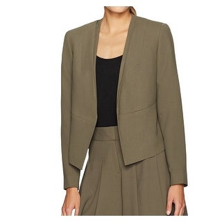 Nine West Green Women's Size 10 Collarless Open-Front Jacket