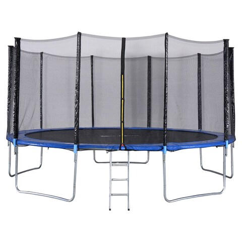 Gymax 15 FT Trampoline Combo Bounce Jump Safety Enclosure Net - as pic