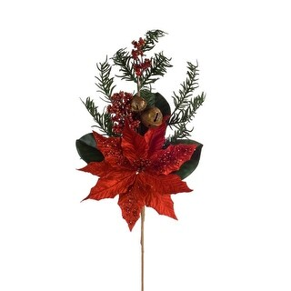 Club Pack of 12 Vibrant Red Poinsettia and Pine Christmas Spray 27.5