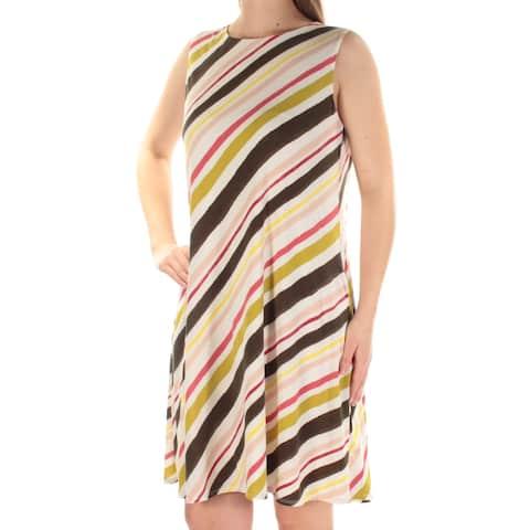 362f11210d7 NINE WEST Womens Ivory Striped Sleeveless Jewel Neck Above The Knee A-Line  Dress Size