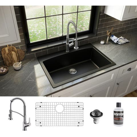 Karran All in One Drop-In Quartz Composite 33 in. Single Bowl Kitchen Sink in Black with Faucet KKF210 in Stainless Steel