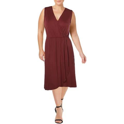 Bobeau Womens Plus Rowan Wrap Dress Surplice A-Line
