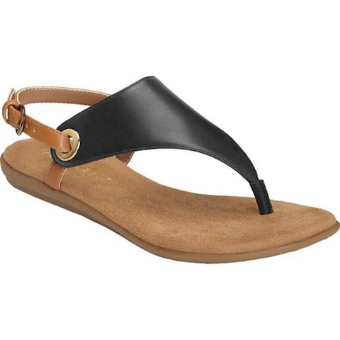 e3bb2b07337b Aerosoles Women s In Conchlusion Thong Sandal Black Leather Faux Leather