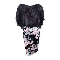 Connected Women's Chiffon Cape Floral-Print Dress (10, Blush) - Blush - 10