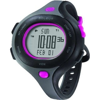 Soleus Women's SR009011 Chicked Grey Digital Dial with Black and Pink Polyurethane Strap Watch