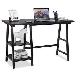 Costway Modern Trestle Computer Desk Writing Laptop Table Open Tiers Shelves Black