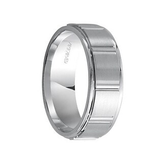 HENDON 14k White Gold Wedding Band Geometric Design Brushed Raised Finish with Rolled Edges by Artcarved - 4.5 mm