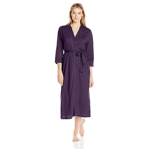 Jockey Women's Cotton Long Robe, Eggplant, SZ Large