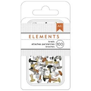 "Metallic - Elements Mini Brads .125"" 100/Pkg"