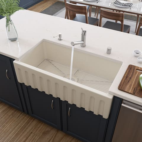 ALFI brand AB3618HS-B 36 inch Biscuit Reversible Smooth / Fluted Single Bowl Fireclay Farm Sink