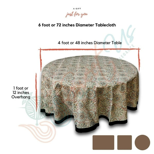 Vegetable Dye Block Print Tablecloth Rectangle Cotton Floral Tablecloth Round. Opens flyout.