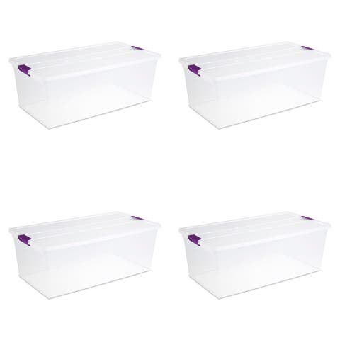 STERILITE 110 Quart Clear View Latching Boxes - Case of 4