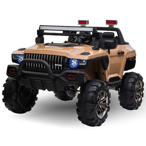 Aosom 12V Kids Electric 2-Seater Ride On Police Car SUV Truck Toy with Parental Remote Control, Tan