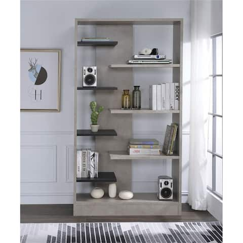 Magna Bookshelf in Faux Concrete & Black By Aoolive
