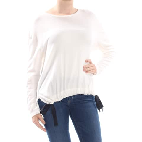 JESSICA SIMPSON Womens Ivory Split Hem Side Tie Long Sleeve Top Juniors Size: M