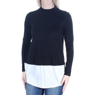 Womens Black Ivory Color Block Long Sleeve Crew Neck Sweater Size S