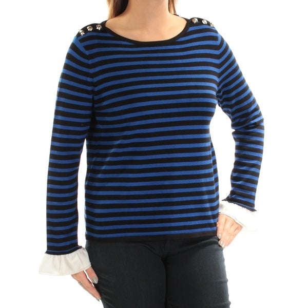a9722172180 Shop Womens Blue Striped Long Sleeve Jewel Neck Top Size L - Free Shipping  On Orders Over $45 - Overstock - 22428225