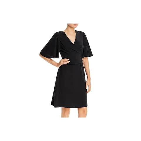 Kobi Halperin Womens Maggie Cocktail Dress Silk Tie Front - Black