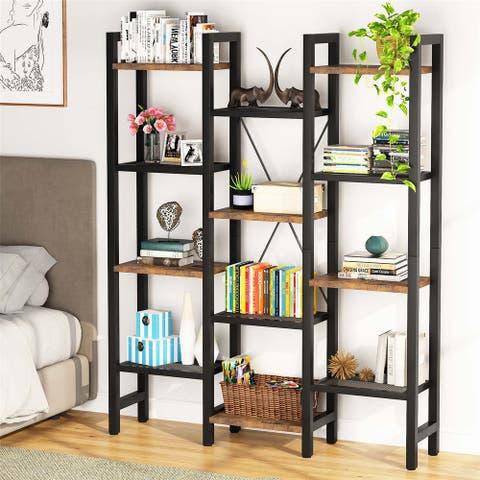 Industrial Bookshelves, 4-Tier Storage Rack Standing Shelf
