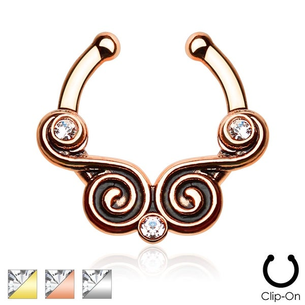 Lace Swirls with CZ Non-Piercing Septum Hanger (Sold Ind.)