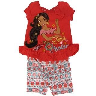 Disney Little Girls Orange Elena Of Avalor Ruffle Bow 2 Pc Shorts Outfit