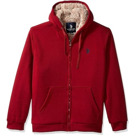 Designer Brand Mens Red Size 4X Full Zip Sherpa Lined Hooded Sweater