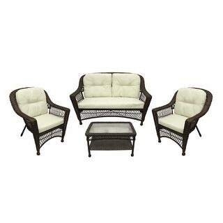 4-Pc Somerset Dark Brown Resin Wicker Patio Loveseat, Chairs & Table Furniture Set - Cream Cushions
