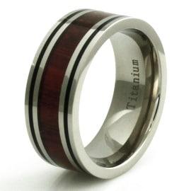 Titanium Wood Inlay Ring with Dual Black Strip