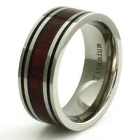 Titanium Wood Inlay Ring with Dual Black Strip