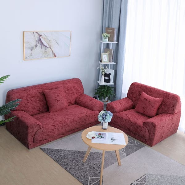 Shop Stretch Chair Loveseat Sofa Covers 1 2 3 4 Seater Couch ...