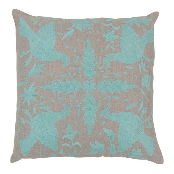 """20"""" Light Gray and Surf Blue Decorative Throw Pillow"""