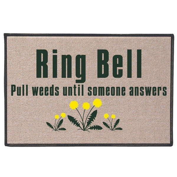 d752c2504a86 Shop Ring Bell, Pull Weeds Doormat - Indoor/Outdoor Olefin Welcome Mat - 27  in. x 18 in. - On Sale - Free Shipping On Orders Over $45 - Overstock -  22829101