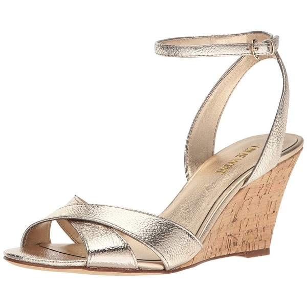 Nine West Womens Kami Leather Open Toe Casual Platform Sandals