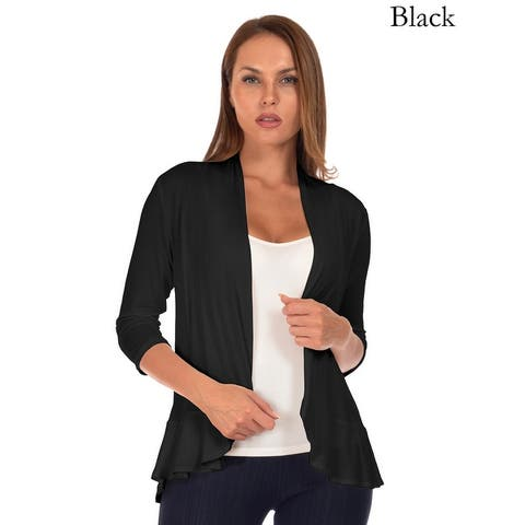 Simply Ravishing Women's 3/4 Sleeve Ruffle Hem Cardigan