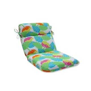 """40.5"""" """"Tropical Leaf"""" Key Lime Green and Caribbean Blue Rounded Corners Chair Cushion"""