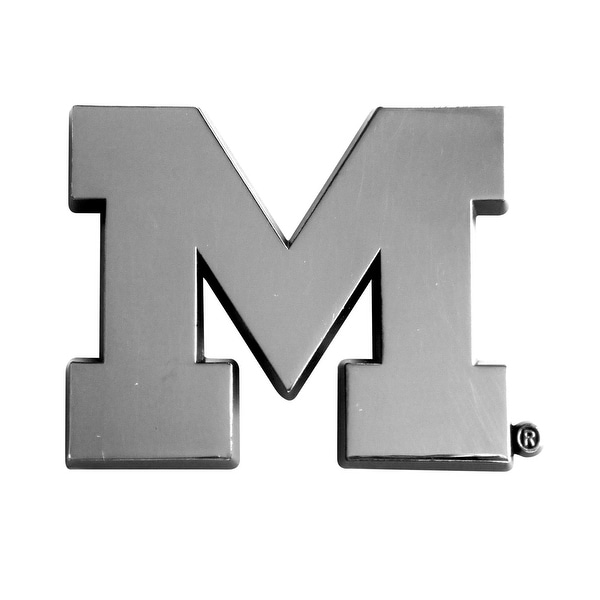 shop university of michigan chrome car emblem free shipping on orders over 45. Black Bedroom Furniture Sets. Home Design Ideas