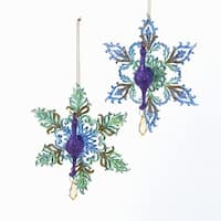 "Club Pack of 12 Peacock with Glittered Snowflake Tail Christmas Hanging Ornaments 5.4"" - PURPLE"