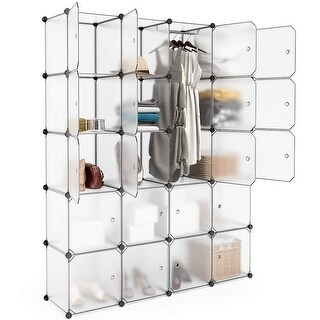 LANGRIA 20 Cubby Shelving Closet System Cube Organizer Plastic Storage Cubes Drawer Unit DIY White