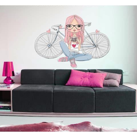 Girl and Bike Decal, Girl and Bike Sticker, Girl and Bike Wall Art
