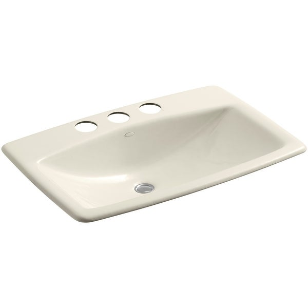 "Kohler K-2885-8U 24"" Cast Iron Man's Lav Undermount Bathroom Sink with 3 Holes Drilled and Overflow"