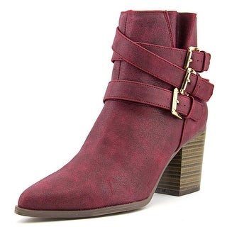 Qupid Tilt-02 Women Pointed Toe Synthetic Burgundy Bootie