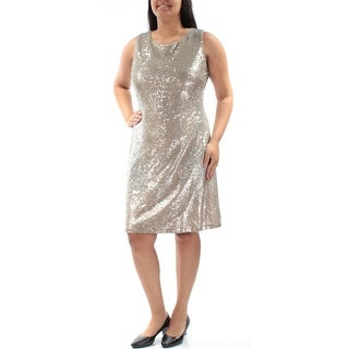 TOMMY HILFIGER $159 Womens New 1212 Gold Sequined Fitted Sleeveless Dress 16 B+B
