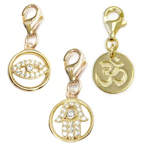 Julieta Jewelry Protection Hand, Lucky Eye, Om 14k Gold Over Sterling Silver Clip-On Charm Set