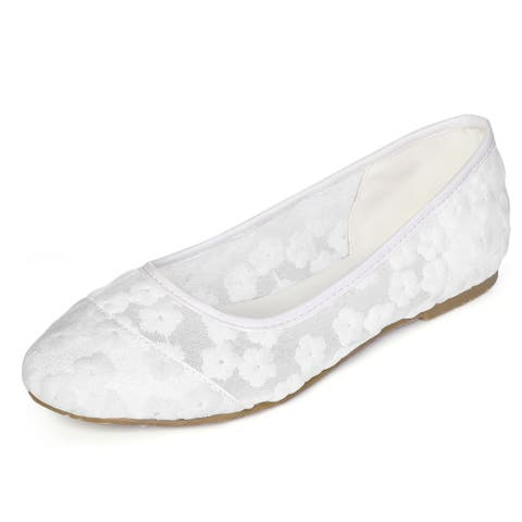 Women Rounded Toe Slip On Floral Lace Ballet Flats