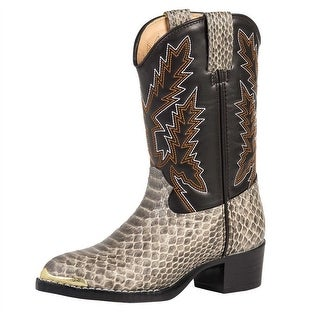 Durango Western Boots Boys Snake Print Cowboy Heel Tan Snake BT813